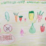 Reklama zdrowego żywienia przygotowana przez ucznia.