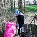 Dzieci sprzątają teren wokół szkoły.